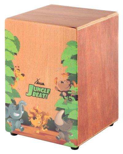 XDrum Jungle Beat - Cajon per bambini, con custodia, suono rullante, utilizzabile anche per sedersi