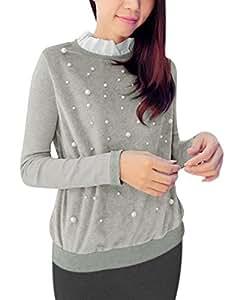 Woman Ruffled Collar Long Sleeves Rhinestones Embellished Tops