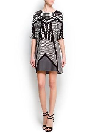 Mango Women's Op-Art Print Dress, Black, 8