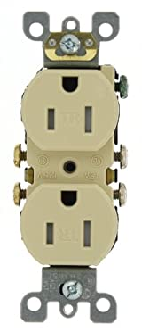 15 Amp 125 Volt, Tamper Resistant, Duplex Receptacle, Residential Grade, Self Grounding, Ivory/Light Almond/White, T5320-S