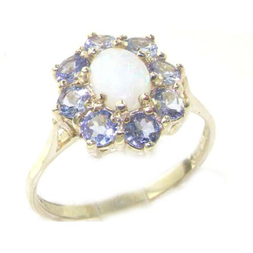 Luxury Ladies Solid Sterling Silver Natural Opal & Tanzanite Cluster Ring - Size S - Finger Sizes L to Z Available
