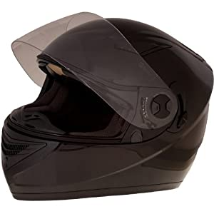 Black Full Face Motorcycle Crash Helmet (Extra Large 62cm)