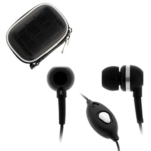 Birugear 3.5Mm Black Earbuds With Microphone + Small Black Accessory Storage Eva Case