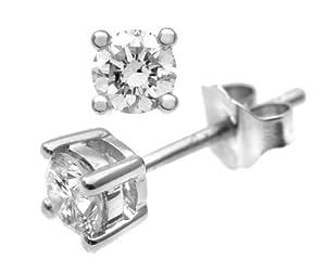 Ariel 0.50 Carat Single-Stone J-I2 Diamond Earrings on 9ct White Gold-0.25 Carat each earring