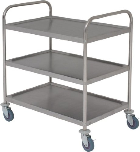 3 tier stainless steel catering trolley 86 x 53 x 93cm