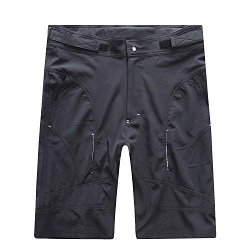 Bonglata Mens Baggy MTB Mountain Bike Shorts with Removeable Biking Bicycle Cycling Padded Liner Short Black (Black, Waist 35-37