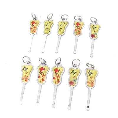 10 Pcs Butterfly Flower Decor Gold Tone Handgrip Earpick Earwax Ear Wax Cleaner