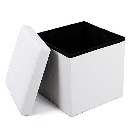 Songmics 38 cm Pouf Cubo Poggiapiedi Sgabello Pieghevole Carico Max. 300 kg Bianco LSF103