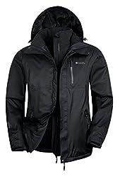 Mountain Warehouse Bracken Mens 3 in 1 Waterproof Jacket Black Large