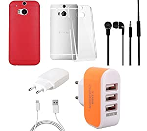 NIROSHA Cover Case Charger Headphone for HTC Desire M8 - Combo