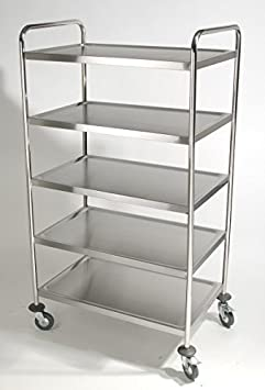 Stainless Steel Clearing Trolley Abräum Trolley W 34 x D 54 x H 154 CM 5 Shelves