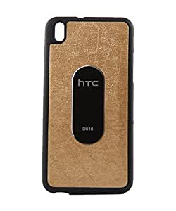 Exclusive Rubberised Back Case Cover For HTC Desire 816G Dual Sim - Golden With Black