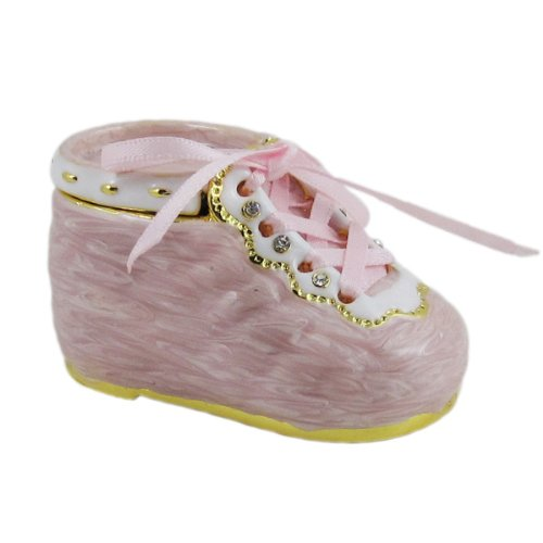 &#8220;It&#8217;s a Girl&#8221; Baby Shoe Jewelry Box -Pink &#8211; Keepsake &#8211; Trinket Box -Bejeweled