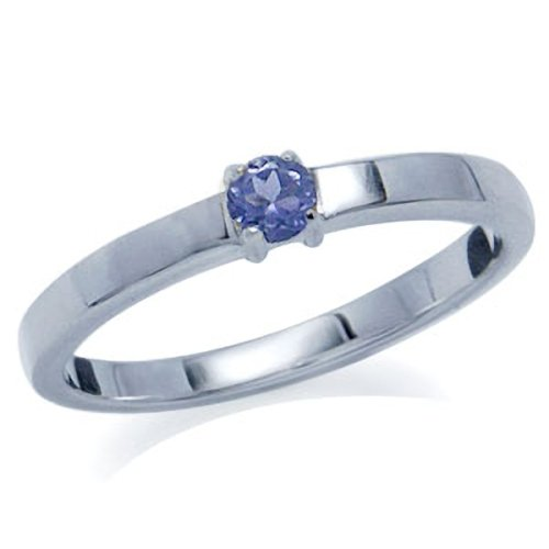 Natural Tanzanite 925 Sterling Silver Engagement Ring Size 5