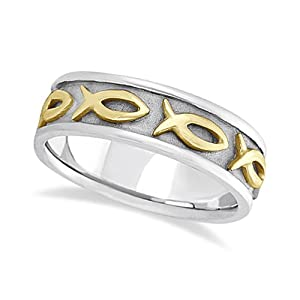 Allurez mens ichthus christ fish symbol wedding ring band for Mens fishing wedding bands