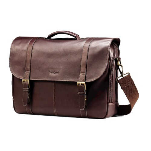 Samsonite Colombian Leather Flap-Over Messenger Bag, Brown, One Size