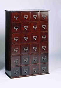 Library Card File Multimedia Cabinet Cherry