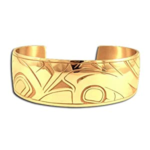 14K Yellow Gold Northwest Coast Native American Raven Transformation Bracelet. Made in USA.