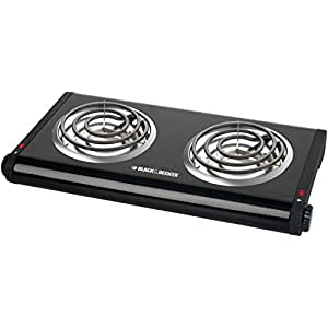 Black & Decker DB1002B Double-Burner Portable Buffet Range, Black