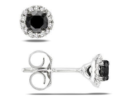 Sterling Silver Black and White Diamond Stud Earrings