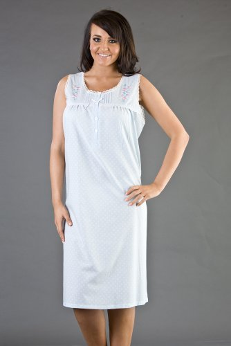 Womens/Ladies Nightwear Short Sleeve Luxury Woven Embroidered Nightdress, Various Colours & Sizes