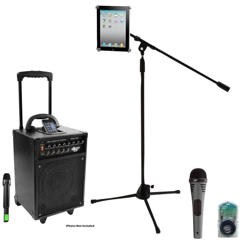 Pyle Speaker, Mic, Cable and Stand Package - PWMA930I 600 Watt VHF Wireless Portable PA Speaker System/Echo W/Ipod Dock - PDMIK2 Professional Moving Coil Dynamic Handheld Microphone - PMKSPAD1 Multimedia Microphone Stand With Adapter for iPad 2 (Adjustable for Compatibility w/iPad 1) - PPFMXLR15 Multimedia Microphone Stand With Adapter for iPad 2 (Adjustable for Compatibility w/iPad 1)