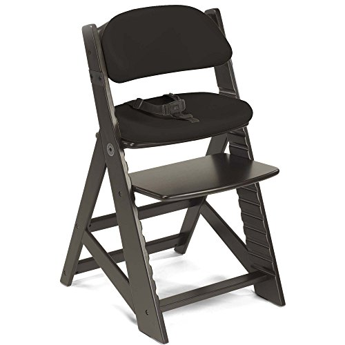 Keekaroo Height Right Kids Chair Espresso with Black Comfort Cushions, Espresso/Black