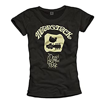 Coole T-Shirts für Damen WOODSTOCK Shirt schwarz Größe S
