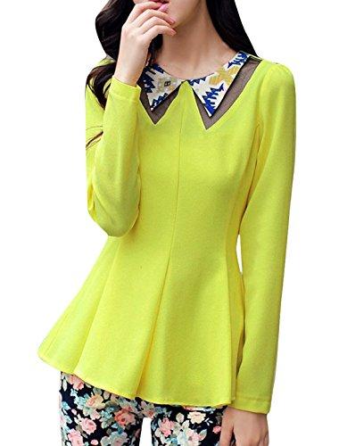 Ladies Doll Collar Zip Up Mesh Panel Peplum Tops Lime Xs