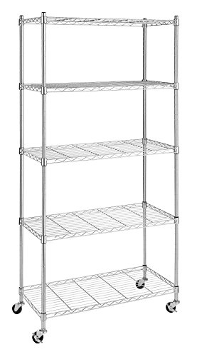 Whitmor 6056-3528 Supreme Chrome 5-Tier Shelving Unit with Wheels (Pantry Shelving Unit compare prices)