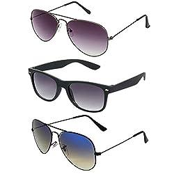 Rhodopsin UV Protected Grey Gradient Aviator,Black Blue Yellow Aviator and Black Wayfarer Sunglasses for Women (3_Grey_Gradient_Bk_Blu_Yel_Avt_Bk_Way)