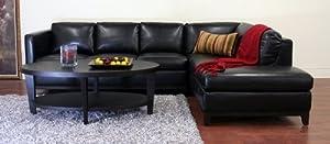 Cool Baxton Studio Rohn Leather Modern Sectional Sofa Black Beatyapartments Chair Design Images Beatyapartmentscom
