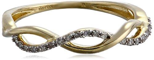 10k Yellow Gold Diamond 1/10cttw Twist Ring, Size 8