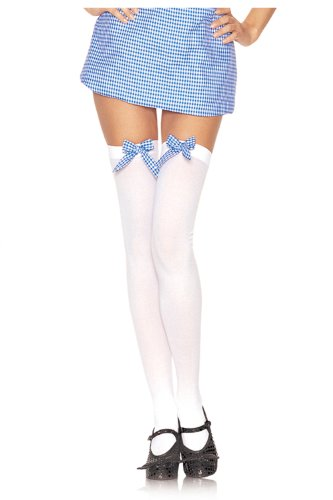 Thigh Hi Wht And Blu Bow Adlt - UA6260WB (Dorothy Shoes From The Wizard Of Oz)