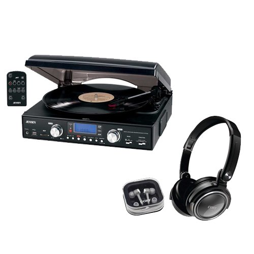 Jensen JTA-460 3-Speed Stereo Turntable with MP3, AM/FM Radi