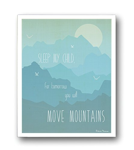 "Kid's Wall Art ""Move Mountains"" 11x14 Wall Art Print for Boys, Girls or Baby's Room, Nursery Decor, Gender Neutral - 1"