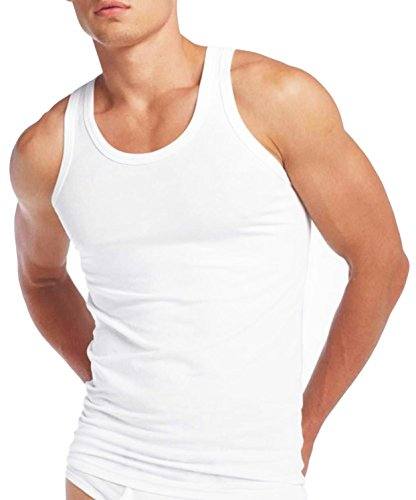 Mens Fitted Vest 100% Cotton Athletic Muscle Gym White Tank Top PACK OF 3 - Small