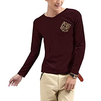 Men Simple Design Pullover Elastic Long Sleeves Shirt Burgundy S