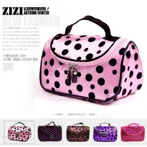 Bds - Rose Red With Black Dot Travel Toiletry Cosmetic Makeup Bag Organizer