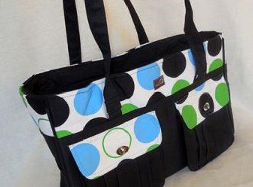 Della Q Isabella Knitting and Crochet Bag #440-1 - Blue and Green Polka Dot from Della Q