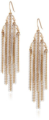 Gold And Silver Tone Layered Chain Fringe Statement Earrings