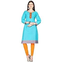 Janasya women's Blue solid kurtis