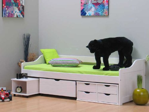 bett kojenbett mit schubladen inkl lattenrost kiefer 90 x 200cm. Black Bedroom Furniture Sets. Home Design Ideas