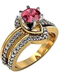 Suvarnadeep Designer Red Gemstone 18k Yellow Gold Plated 92.5 Sterling Silver Ring