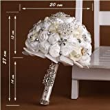 High Quality Romantic Diamond Rose Artificial White Wedding Bouquet of Flower, Western Style Wedding Bride Holding Flower