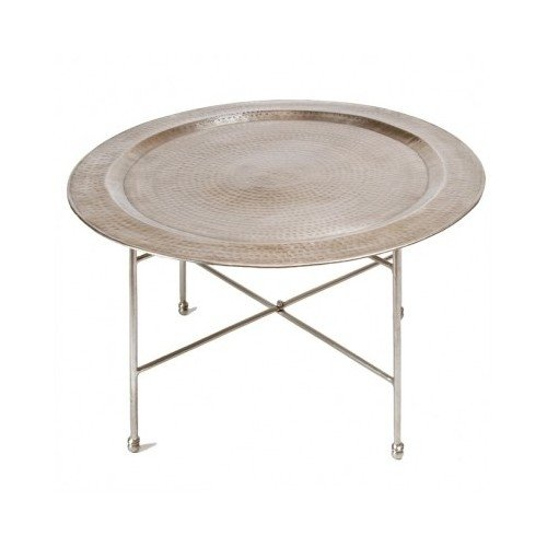Antique Round Hammered Nickel Coffee Table