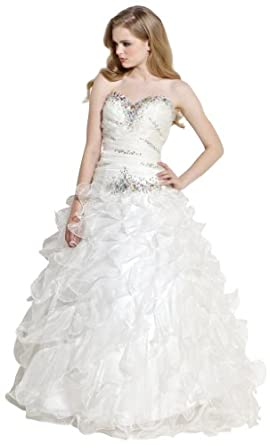 Beaded Bandage Organza Ruffle Ball Gown Prom Dress Bridal></a><br /> </p> <p><a href=