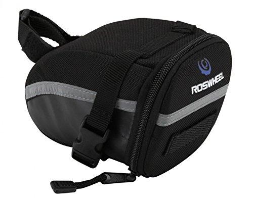 Layopo Roswheel Universal Strap On Cycling Bike Bicycle Mountain Bike Rear Seat Saddle Bags,Black With Layopo'S Carabiner front-130457