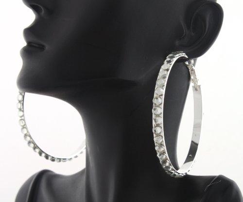Ladies Silver Iced Out 2.35 Inch Flat Hoop Earrings