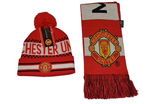 Manchester United Set Beanie Red Reversible Skull Cap Hat and Scarf Reversible (RED) (Manchester United Beanie Hat compare prices)